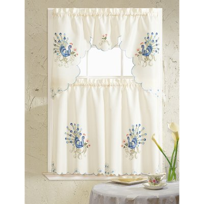 Inspiration about Rt Designers Collection Peacock Embroidered Kitchen Curtain Throughout Urban Embroidered Tier And Valance Kitchen Curtain Tier Sets (#3 of 30)