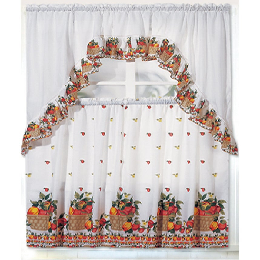 Rt Designers Collection Ruffle Fruit Basket Tier And Valance Kitchen  Curtain Set Throughout Sunflower Cottage Kitchen Curtain Tier And Valance Sets (#36 of 50)