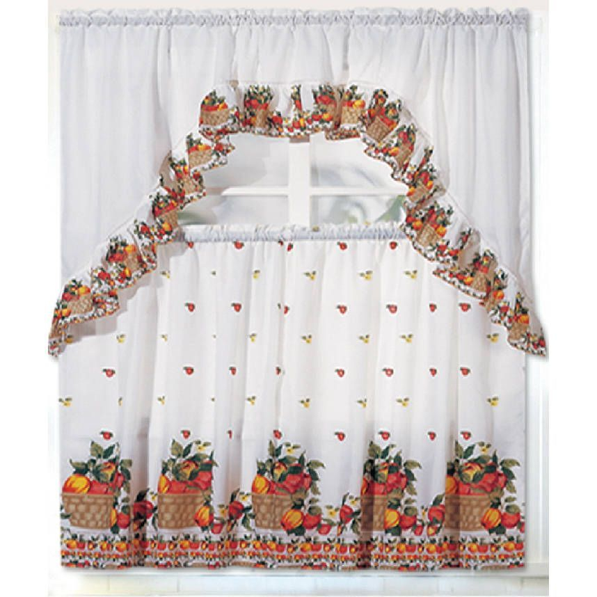 Inspiration about Rt Designers Collection Ruffle Fruit Basket Tier And Valance Regarding Traditional Two Piece Tailored Tier And Valance Window Curtains (#40 of 50)