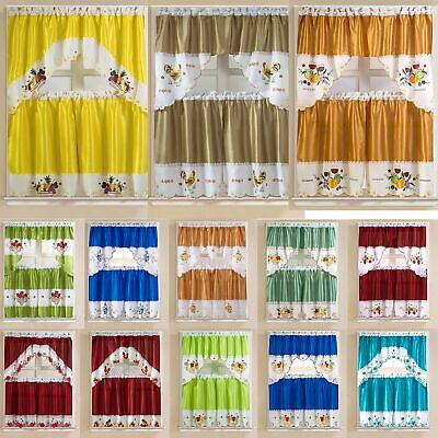 Inspiration about Rt Designers Collection Vintage Tier & Swag Kitchen Curtain Set – Multi |  Ebay Regarding Imperial Flower Jacquard Tier And Valance Kitchen Curtain Sets (#6 of 46)