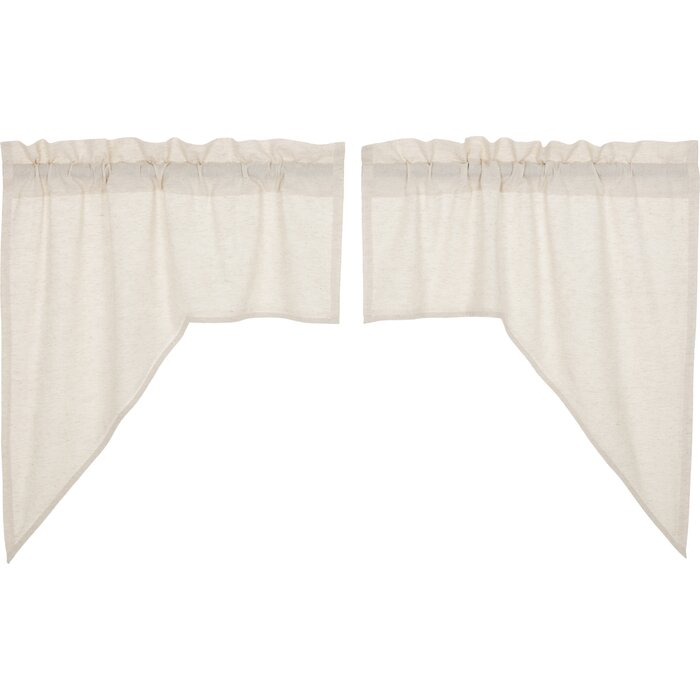 """Rucker Solid Color Swag 36"""" Window Valance Within White Tone On Tone Raised Microcheck Semisheer Window Curtain Pieces (#32 of 46)"""