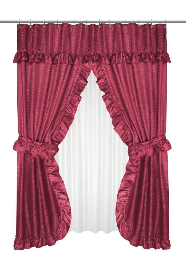 Ruffled Double Swag Shower Curtain With Valance & Tie Backs Throughout Silver Vertical Ruffled Waterfall Valance And Curtain Tiers (View 15 of 50)