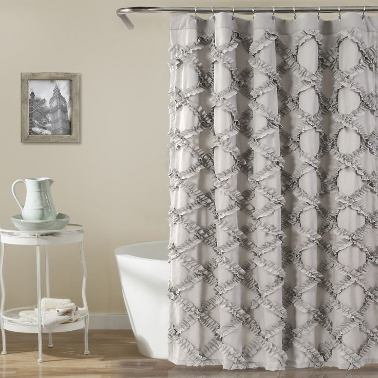 Inspiration about Ruffled Dove Shower Curtain In 2019 | Ruffle Shower Curtains Regarding Silver Vertical Ruffled Waterfall Valance And Curtain Tiers (#7 of 50)