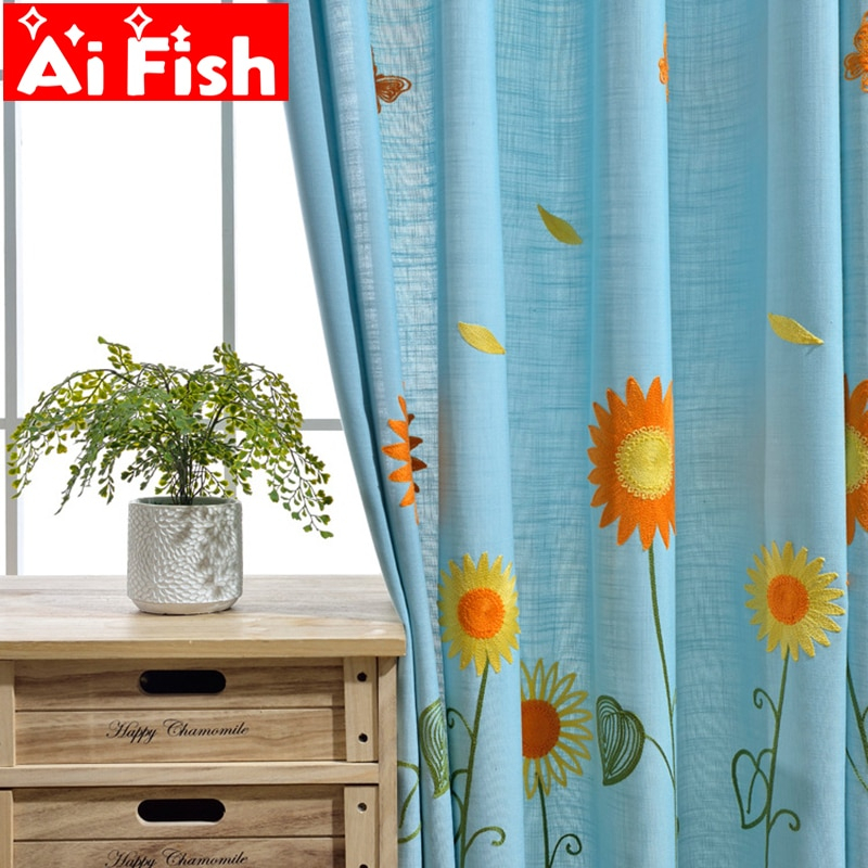 Inspiration about Rural Embroidered Sunflower Designer Curtain Tulle Window Sheer Curtain For  Bedroom Kitchen Window Curtain Living Room Ap298 30 In Traditional Tailored Window Curtains With Embroidered Yellow Sunflowers (#7 of 30)