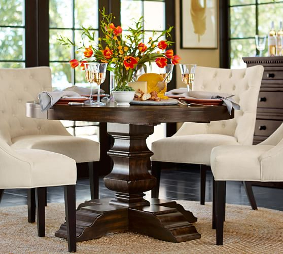 Inspiration about Rustic Brown Lorraine Extending Dining Tables Throughout 2019 Pedestal Dining Tables You'll Love For Years To Come! (#14 of 20)