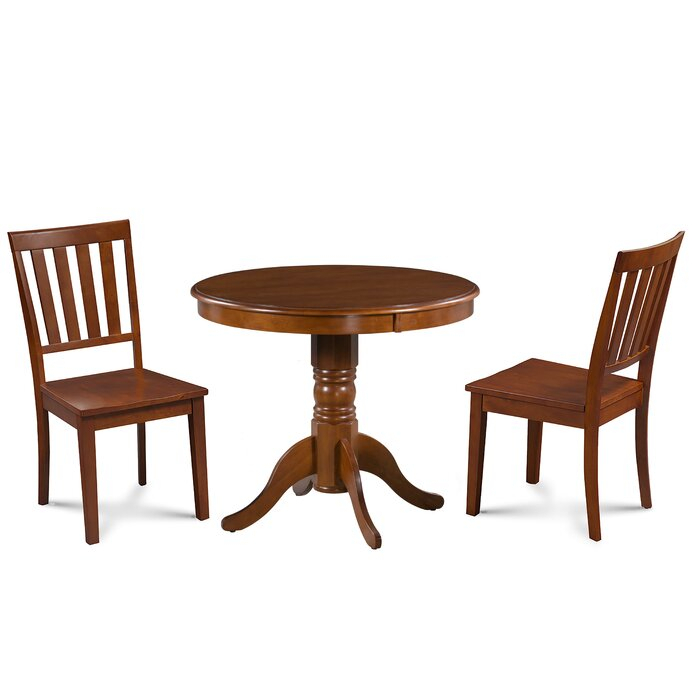 Inspiration about Rustic Brown Lorraine Pedestal Extending Dining Tables Inside Preferred Dahlquist 3 Piece Solid Wood Dining Set (#29 of 30)