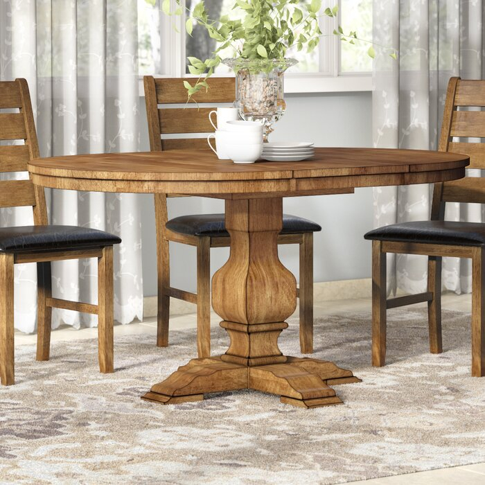 Inspiration about Rustic Brown Lorraine Pedestal Extending Dining Tables Pertaining To Most Popular Fortville Extendable Solid Wood Dining Table (#23 of 30)