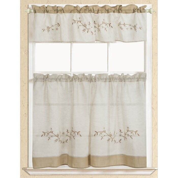 Inspiration about Rustic Embroidered Kitchen Curtain Regarding White Tone On Tone Raised Microcheck Semisheer Window Curtain Pieces (#28 of 46)