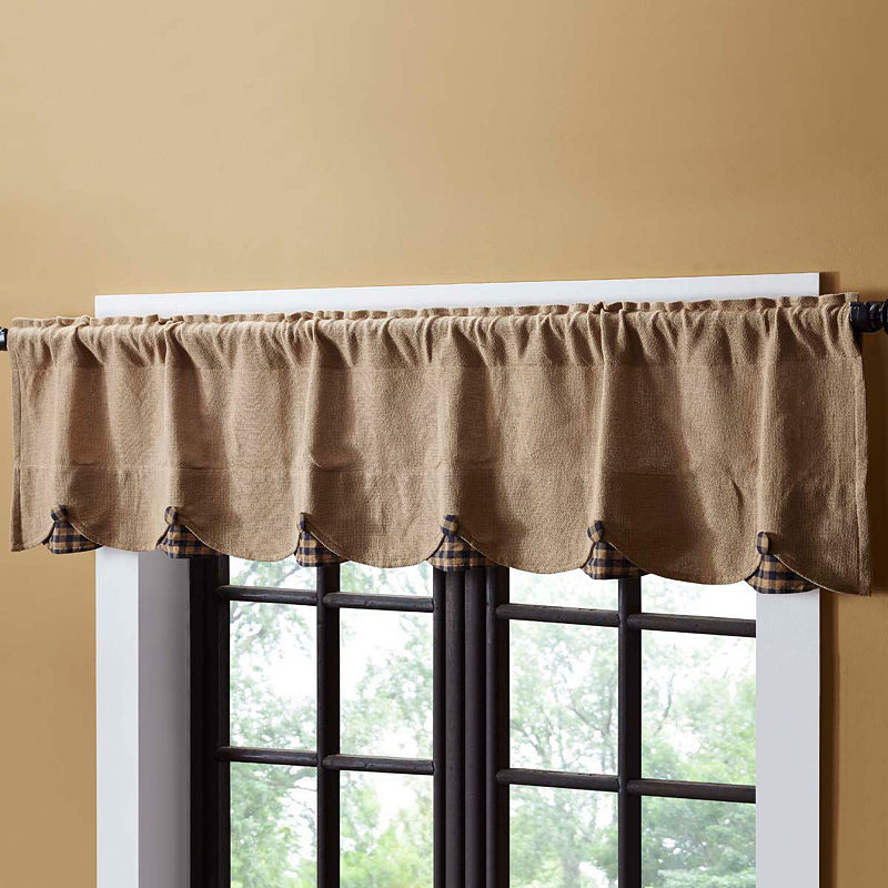 Inspiration about Rustic & Lodge Window Burlap Check Scalloped Valance In Country Style Curtain Parts With White Daisy Lace Accent (#48 of 50)