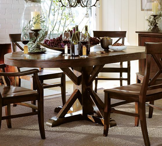 Rustic Mahogany Benchwright Dining Tables Throughout Famous Pottery Barn Benchwright Pedestal Extending Dining Table (View 10 of 20)