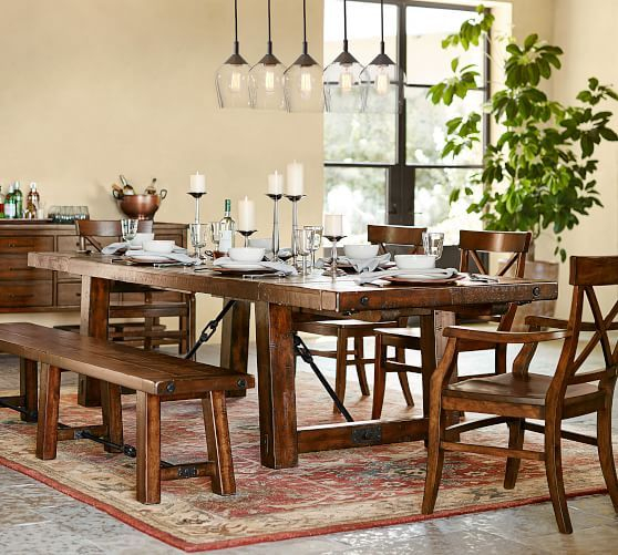 Popular Photo of Rustic Mahogany Benchwright Dining Tables
