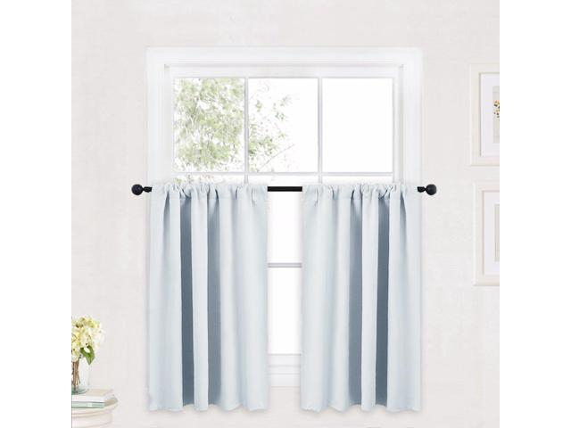 Inspiration about Ryb Home Kitchen Curtains And Valance Set, Room Darkening Curtain Tiers  With Rod Pocket Top, Small Window Curtain Draperies For Nursery/dining In Grey Window Curtain Tier And Valance Sets (#34 of 50)