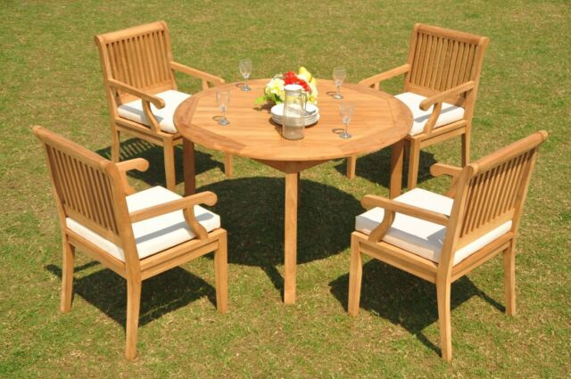 """Sack Grade A Teak Wood 5Pc Dining 48"""" Round Table 4 Arm Chair Set Outdoor  Patio Regarding Trendy Brooks Round Dining Tables (#23 of 30)"""