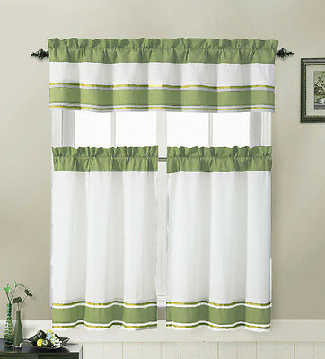 Sage And White 3 Piece Kitchen Window Treatment Set With Pintuck Accent  Stripes 735735802796 | Ebay Pertaining To Solid Microfiber 3 Piece Kitchen Curtain Valance And Tiers Sets (#38 of 50)
