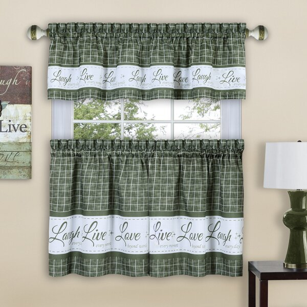 Sage Green Kitchen Curtains   Wayfair Intended For Floral Watercolor Semi Sheer Rod Pocket Kitchen Curtain Valance And Tiers Sets (View 41 of 50)