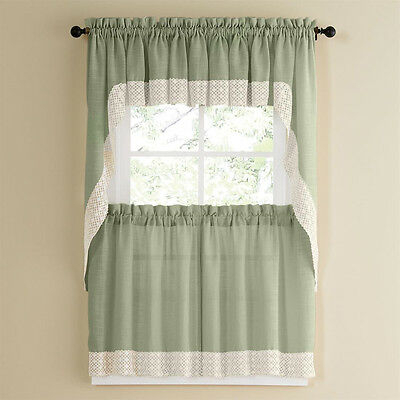 Salem Kitchen Curtain – Blue W/white Lace Trim – Lorraine Inside French Vanilla Country Style Curtain Parts With White Daisy Lace Accent (View 33 of 50)