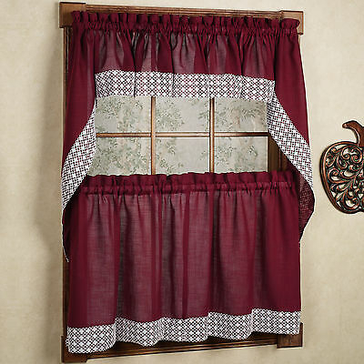 Salem Kitchen Curtain – Blue W/white Lace Trim – Lorraine Regarding French Vanilla Country Style Curtain Parts With White Daisy Lace Accent (View 34 of 50)