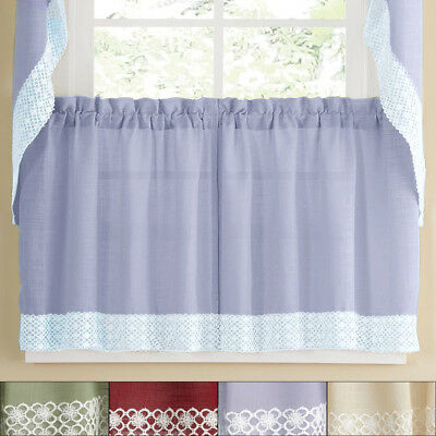 Salem Kitchen Window Curtain W/ Lace Trim – 24 X 60 Tier Pair | Ebay Within French Vanilla Country Style Curtain Parts With White Daisy Lace Accent (View 36 of 50)