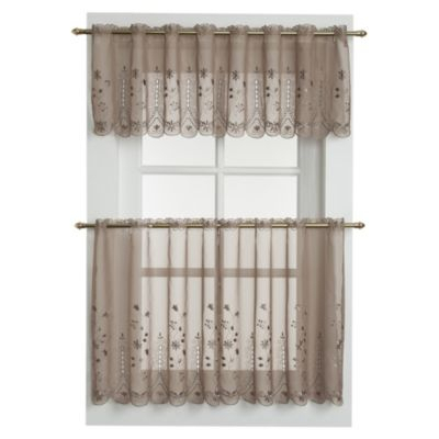 Samantha Sheer Window Curtain Tier Pairs In Taupe Pertaining To Sheer Lace Elongated Kitchen Curtain Tier Pairs (#20 of 30)