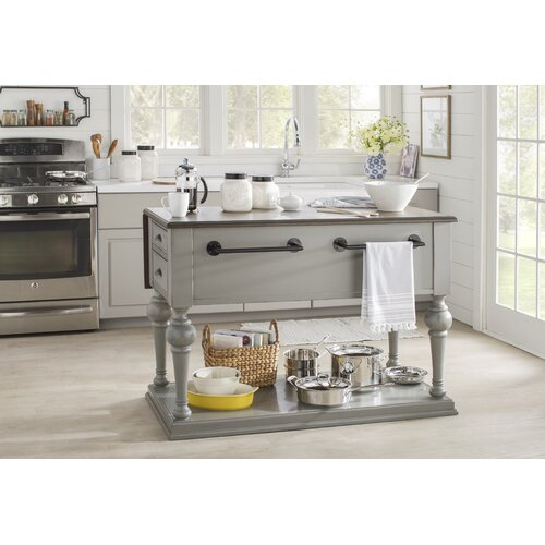 Sandbach Kitchen Island With Wood Top Pertaining To Trendy Elworth Kitchen Island (#15 of 20)