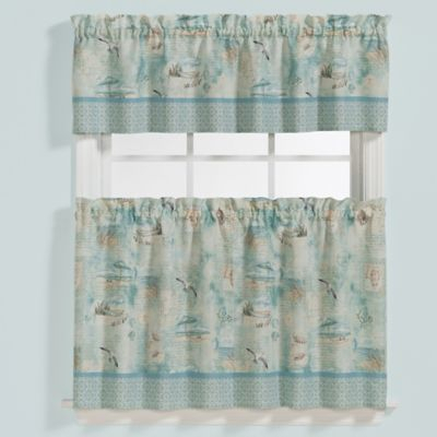 Saturday Knight High Tide 36 Inch Window Curtain Tier Pair Inside Seabreeze 36 Inch Tier Pairs In Ocean (View 11 of 30)