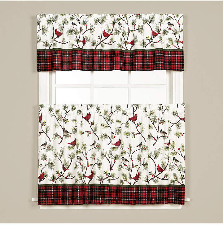 Saturday Knight Winter Birds 24 Inch Tier Pair | Products Within Fluttering Butterfly White Embroidered Tier, Swag, Or Valance Kitchen Curtains (View 32 of 50)