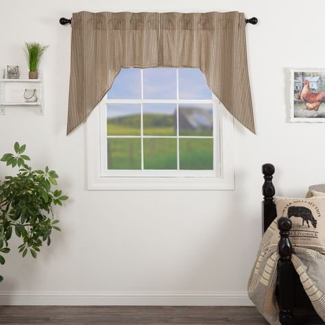 Sawyer Mill Charcoal Ticking Stripe Lined Swag Curtains In In Rod Pocket Cotton Linen Blend Solid Color Flax Kitchen Curtains (View 26 of 30)