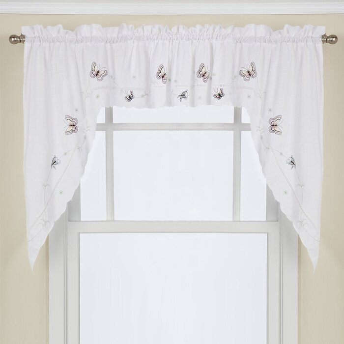 "Schlater Embroidered Butterfly Kitchen 29"" Swag Curtain Valance With Regard To Abby Embroidered 5 Piece Curtain Tier And Swag Sets (View 27 of 30)"