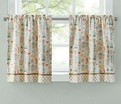 """Sea Life Tier Set 60"""" W X 24"""" L Kitchen Window Curtains ~ Fast Free  Shipping 