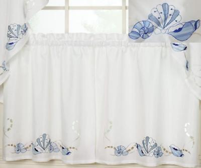 Seabreeze Beach House Embroidered Laser Cut Linen Look Tier Pair Ocean Shells 3632642242 | Ebay With Seabreeze 36 Inch Tier Pairs In Ocean (View 22 of 30)