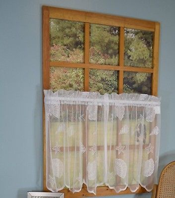 Seashells Starfish Lace Coastal Ivory Kitchen Curtains 36L With Coastal Tier And Valance Window Curtain Sets (View 27 of 30)