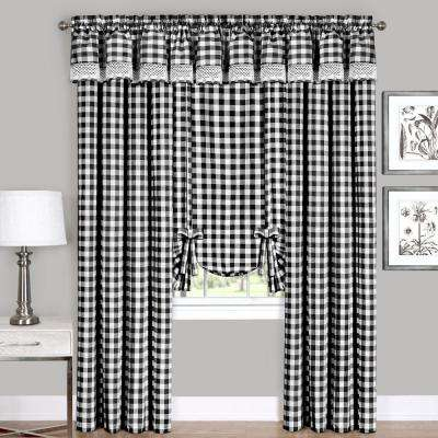 Semi Opaque Buffalo Check Black Poly/cotton Window Curtain Panel 42 In. W X  63 In (View 22 of 30)