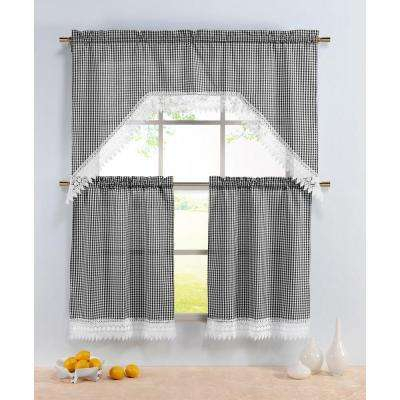Semi Opaque Checkered Black Embroidered 3 Piece Kitchen Curtain Tier And  Valance Set With Regard To Embroidered Chef Black 5 Piece Kitchen Curtain Sets (View 29 of 42)