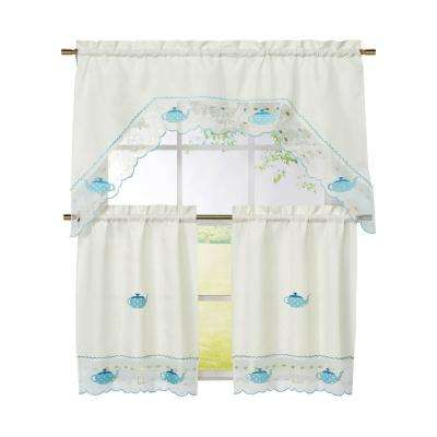 Semi Opaque Tea Party Embroidered 3 Piece Kitchen Curtain Tier And Valance Set Pertaining To Microfiber 3 Piece Kitchen Curtain Valance And Tiers Sets (View 25 of 30)