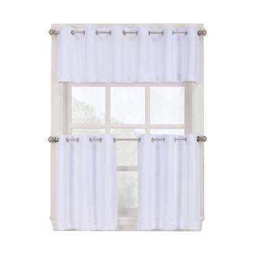 Semi Opaque White Montego Grommet Kitchen Curtain Tiers, 56 In. W X 36 In (View 35 of 50)