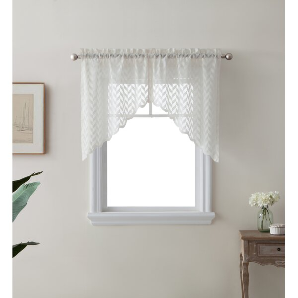 Semi Sheer Cafe Curtains | Wayfair Regarding Ivory Micro Striped Semi Sheer Window Curtain Pieces (#20 of 50)