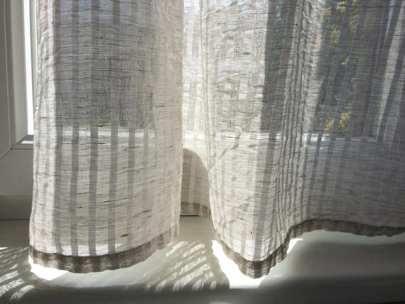 Semi Sheer Curtain Panel, Natural White Striped Natural Linen Kitchen  Window Curtains, Light Pure Linen Cafe Curtains Throughout Linen Stripe Rod Pocket Sheer Kitchen Tier Sets (#37 of 46)