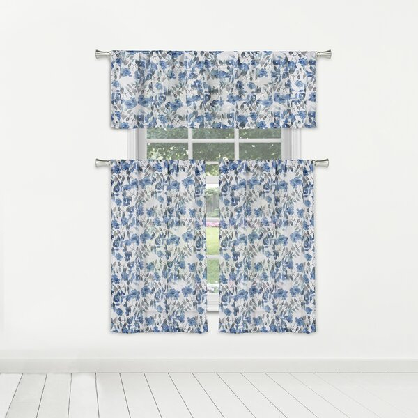 Semi Sheer Kitchen Curtains   Wayfair Pertaining To Floral Watercolor Semi Sheer Rod Pocket Kitchen Curtain Valance And Tiers Sets (View 42 of 50)