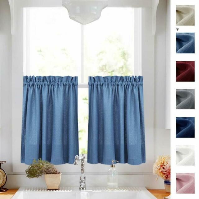Semi Sheer Short Curtains Rod Pocket Kitchen Tier Cafe Curtains, 2 Panel With Regard To Serene Rod Pocket Kitchen Tier Sets (View 12 of 30)