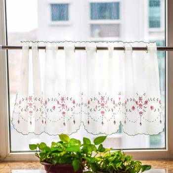 Senarai Harga Japanese Style Pink Embroidered Cafe Curtain For Embroidered Ladybugs Window Curtain Pieces (View 34 of 50)