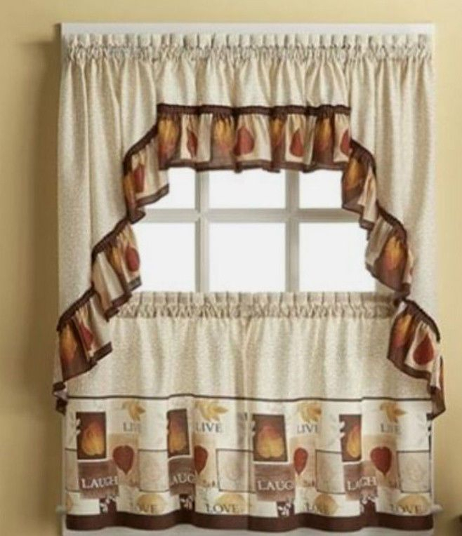 Sentiments Live Laugh Love Kitchen Tiers & Swag Valance Within Multicolored Printed Curtain Tier And Swag Sets (View 21 of 30)