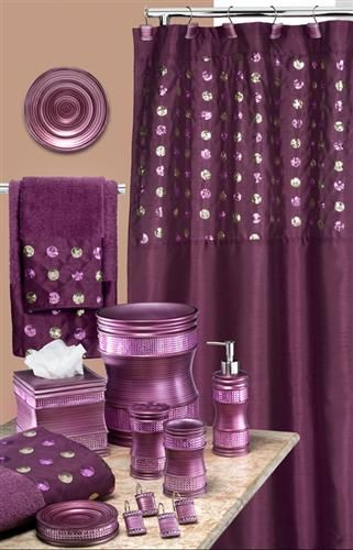 Sequins Purple Bath Accessory Set–This Has Everything I With Regard To Complete Cottage Curtain Sets With An Antique And Aubergine Grapvine Print (View 22 of 30)