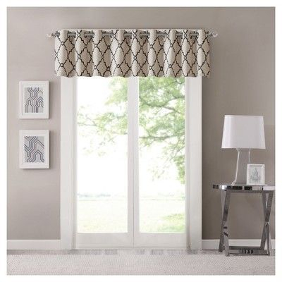 "Sereno Fretwork Printed Valance Khaki (50""x18""), Green With Luxury Light Filtering Straight Curtain Valances (View 8 of 47)"