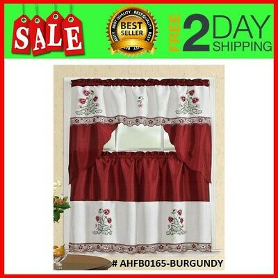 Set 3 Piezas Para Cortina De Cocina 2 Tiers 1 Valance Window Kitchen Curtain New 841380131485 | Ebay In Red Delicious Apple 3 Piece Curtain Tiers (View 7 of 50)