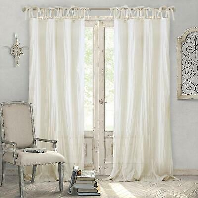 Shabby Chic Ivory Curtains Semi Sheer 52 X 95 Window Drape Adjustable Home  Decor | Ebay Throughout Micro Striped Semi Sheer Window Curtain Pieces (#17 of 30)