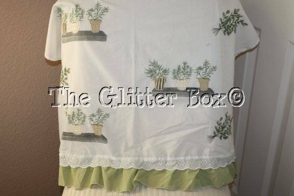 Shabby Cottage Chic White Cafe Curtain Panels Herbs In Flower Pots 30 X 24 B13 | Ebay Inside Dexter 24 Inch Tier Pairs In Green (View 7 of 30)