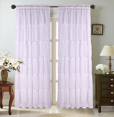 Sheer 2 Pc White Window Curtain Café/tier Set: 3D Soft Tufts Inside White Tone On Tone Raised Microcheck Semisheer Window Curtain Pieces (#35 of 46)