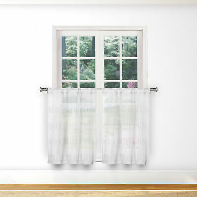 Sheer 2 Pc White Window Curtain Café/tier Set: 3D Soft Tufts Intended For White Tone On Tone Raised Microcheck Semisheer Window Curtain Pieces (#36 of 46)