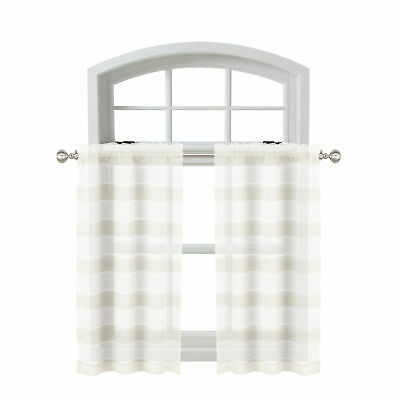 Sheer 2 Pc White Window Curtain Café/tier Set: 3D Soft Tufts Regarding White Tone On Tone Raised Microcheck Semisheer Window Curtain Pieces (#38 of 46)