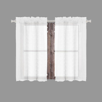 Sheer 2 Pc White Window Curtain Café/tier Set: 3D Soft Tufts Throughout White Tone On Tone Raised Microcheck Semisheer Window Curtain Pieces (#39 of 46)
